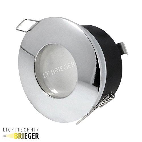 LED Luminaire Lampe LED Luminaire IP65humide Outside–Ronde Chromé–3W COB LED, 280lumen, Blanc Froid–DIMM Bar–GU10–Lot de 8, 6 Watt, GU10 3.0 watts 230.00 volts Feuchtraumleuchten IP65 LED