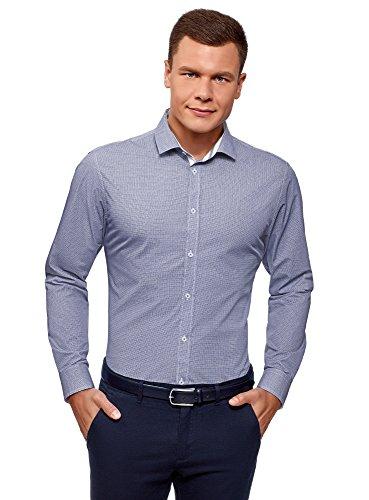 Oodji ultra uomo camicia basic aderente, blu, 41cm / it 48 / eu 41 / m