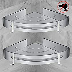 RenFox Bathroom Corner Shelves Bath Shower Caddy Corner Storage Holder Shelf Wall Shower Basket Hanging for Shower Kitchen No Drilling Rustproof Space Aluminum Polished (Triangle, 2 Pack, Grey)