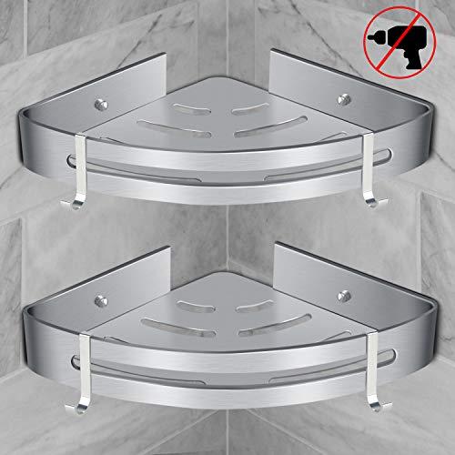 RenFox Duschregal Ohne Bohren Badregal Eckregal Duschkorb Selbstklebender Duschablagen Badezimmer Regal Aluminium Duschablage für Küche Bad mit 4 Haken(Dreieck, 2 Pack)