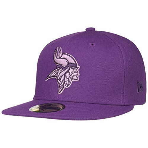 Brim Fitted Cap (New Era 59Fifty Pop Vikings Cap Baseballcap Basecap Fitted NFL-Cap Flat Brim Minnesota (7 3/8 (58,7 cm) - lila))
