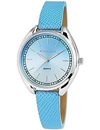 Trend de Wares de mujer reloj de pulsera Azul Plata analógico de cuarzo metal cuero mujer reloj números arábigos