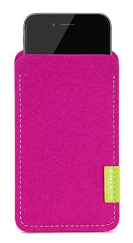 WildTech Sleeve für Apple iPhone X geeignet für Apple Leder Case / TPU Silikon Case (extra breit) Hülle Tasche aus echtem Wollfilz (Handmade in Germany) - Hellgrau Pink