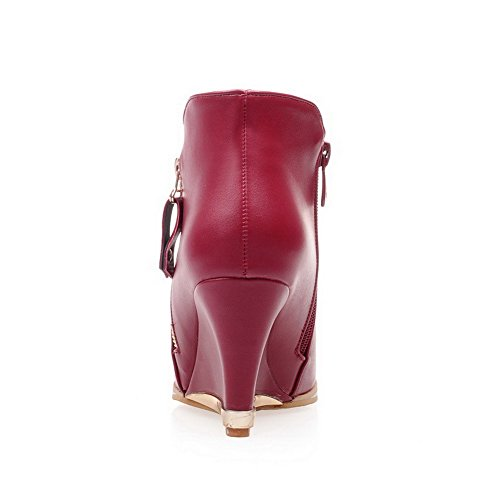 Damen Absatz Materialien Spitz Stiefel Rot AllhqFashion Hoher Zehe Blend dTppE