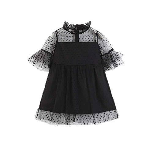 Huateng Baby Mädchen Spitzenkleid Dame Schwarzes Kleid Sexy Kleid Mama Baby