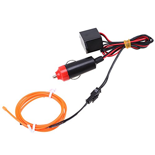 POSSBAY EL Wire Neon Beleuchtung Innenbeleuchtung 3M Mit 12V Inventer fuer Auto Weihnachtsfeiern Halloween (Orange Led-halloween-lichter)