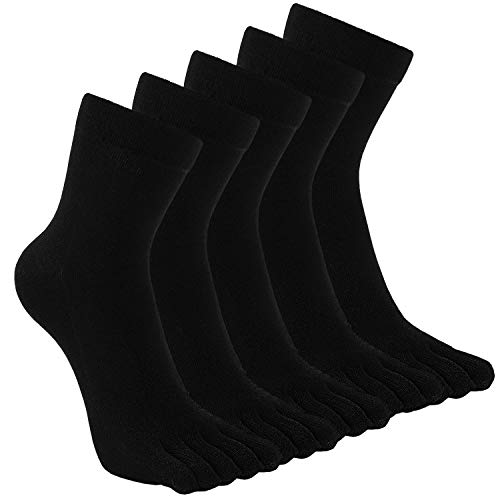 TEENLOVEME® Herren Zehensocken Baumwolle Männer Five Fingers Socken Sport laufende Zehe Socken, Schwarz