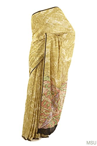 Mysore Saree Udyog - Saree With Blouse pretty crepe pure silk earth...