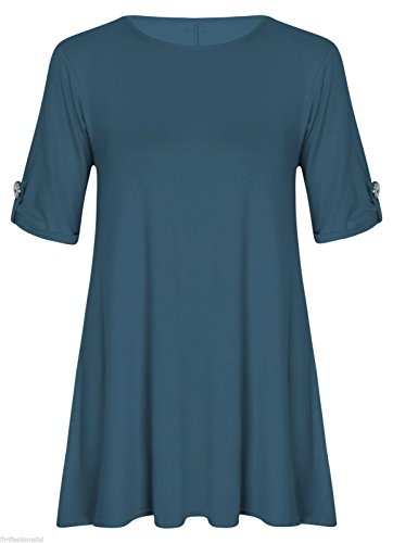 Womens Ladies Plus Size Button Short Turn Up Sleeves Flared Swing Dress Long Top Teal