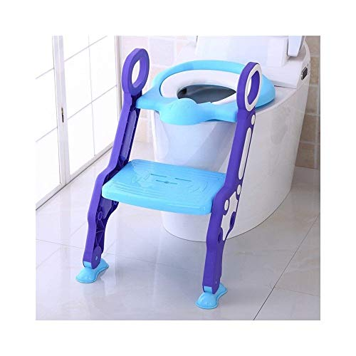 XHCfold Toilette Vasino Regolabile, Asciuga-Toelette per Bambini con Scaletta, per Ragazzo E Ragazza (Colore : Blu)
