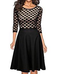 MIUSOL Damen Abendkleid Vintag 50er Polka Dots Spitzen Partykleid 3/4 Ärmel Knielang Rockabilly Kleid