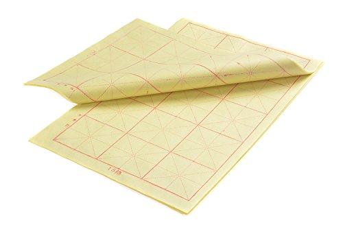 Kalligraphie Papier mit Führungslinien, 8K, 5 x 3 Felder = 15 Felder, 35cm x 23cm, 50 Blatt, gelb,...
