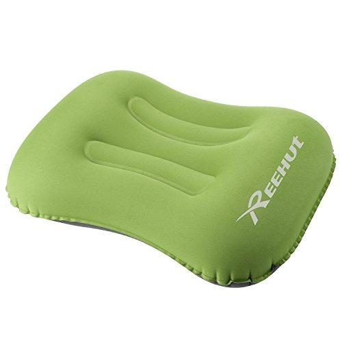 Cuscino da campeggio gonfiabile, cuscino da viaggio ultraleggero da 80 grammi, tessuto morbido, design ergonomico con custodia portatile per backpacking, escursionismo, campeggio, spiaggia - verde