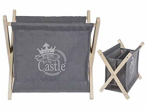 Ootb tessuto del giornale supporto piedi su legno, legno/cotone/poliestere, grigio, 32.5x 3x 33cm
