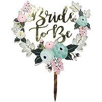 Decoración para tarta de novia con flores, acrílico colorido para boda con purpurina para decorar