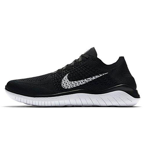 NIKE Herren Free RN Flyknit 2018 Sneakers, Schwarz (Black/White 001), 43 EU
