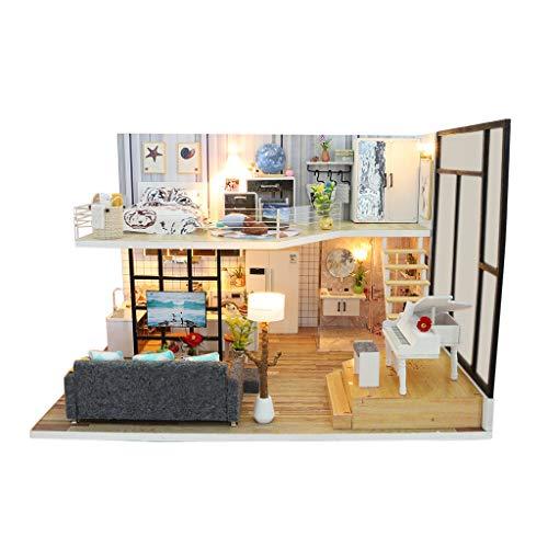Luccase DIY Miniatur Dollhaus Set 3D Holz Möbel Modell LED Puppenhaus Puzzle Dekorieren Kreative Bastel Spielzeug Geschenke für Kinder (Ohne Staubschutzhülle) -