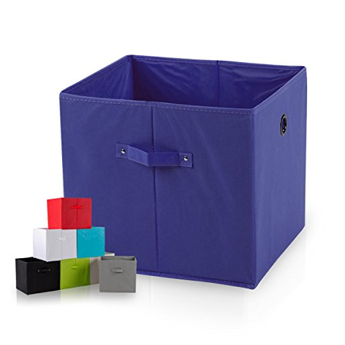 diMio SB1 Faltbox in Indigo/Navy (Doppelpack) - Regalfach Aufbewahrungsbox mit Trageschlaufen und Fingerloch, extra tief für noch mehr Stauraum