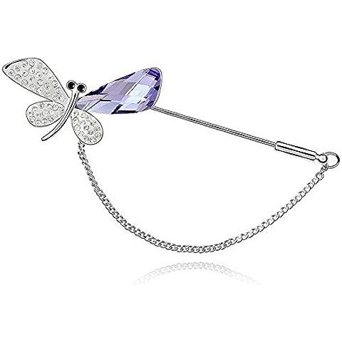 ufengke® Señoras Broches de Mariposas Finas, Hecho Con Cristal Austriaco, Chapado en Oro Blanco, Hermoso Regalo Para Las Mujeres y Las Niñas