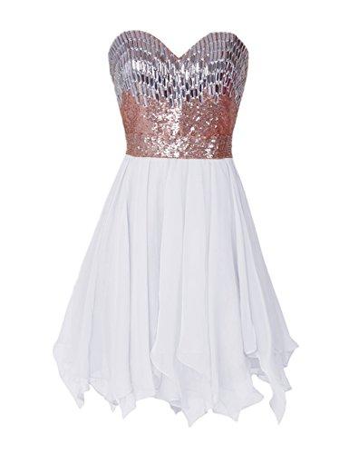 Dressystar Robe femme, Robe de soirée/de bal courte,bustier,asymétrique, en Mousseline Blanc
