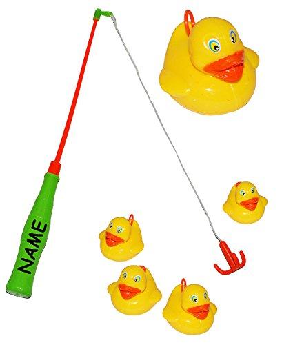 Angelspiel mit 4 Enten - Angel -incl. Namen - Kinderspiel Spiel - Wasserspielzeug Wasser Entenangeln / Entchen - angeln für Kinder - mit Haken - Badewanne Spiel Fischeangeln