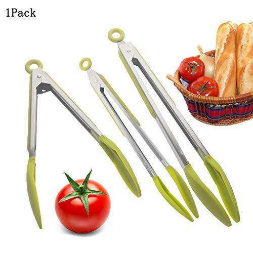"""Küchen Premium Silikon Küche Zange 1 Pack Zange Set BBQ Cooking Tool (Grün, 9\"""")"""