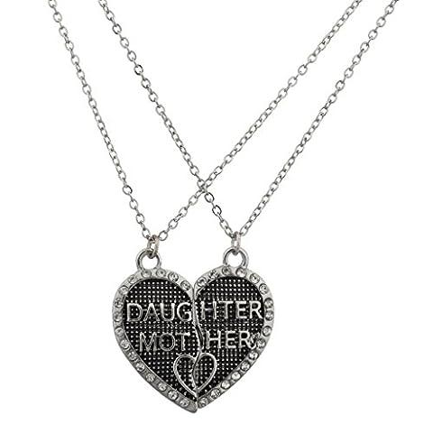 Lux Accessoires Fille Mère Mom Coeur Brisé serti texturé BFF