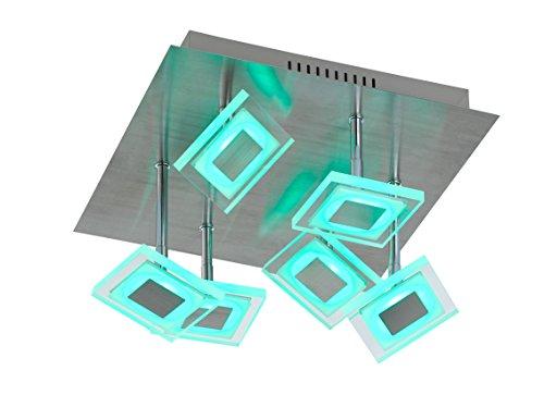 WOFI 9098.07.54.6000 A Deckenleuchte, Metall, 30 W, Integriert, nickel matt/chrom, 35 x 35 x 21 cm