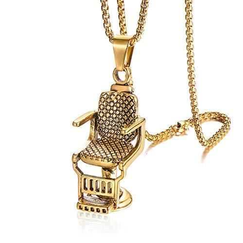 HFJ&YIE&H Hiphop Rock Titan Rostfreier Stahl Friseur Sofa-Stuhl Anhänger Halskette für Männer Friseur-Schmuck Gold-Silber 24 Zoll Kette,Gold (Stühle-paket)