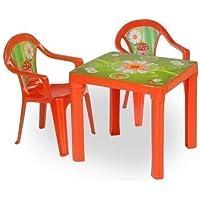 Preisvergleich für toys4u Kinder Sitzgruppe Tisch mit 2 Stühlen Kindertisch Kindermöbel Möbel Tisch Stu (rot)