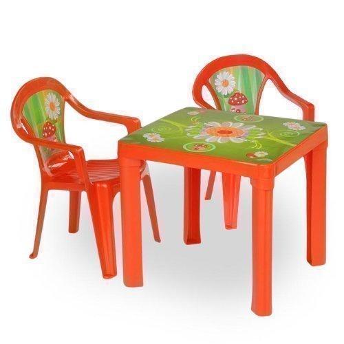 Kinder Sitzgruppe Tisch mit 2 Stühlen Kindertisch Kindermöbel Möbel Tisch Stu (rot)