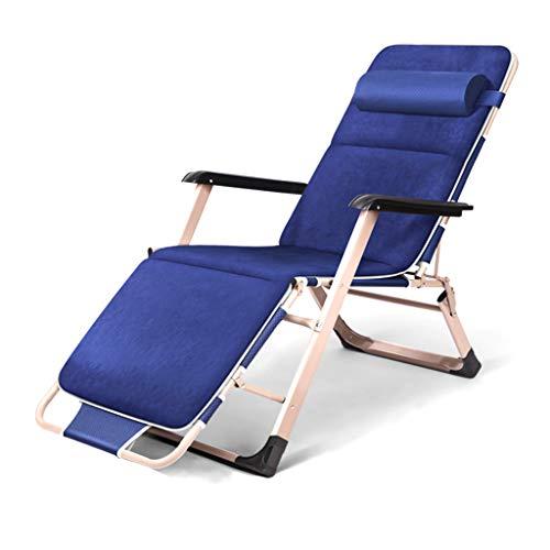 Chaises de Patio inclinables avec Coussins - Chaise Portable de Camping pour Le Camping sur la Plage, Bleue/Grise, 150kg (Couleur : Bleu)