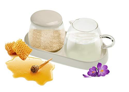 Sendez Milchkännchen & Zuckerdose aus Glas und Porzellan Milchgiesser Zuckerspender