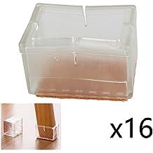 """coolhome transparente silicona Tapones de pata de la silla almohadillas de fieltro muebles pad Chair Pierna Protectores para el suelo (Pack de 16, rectangular 1–7/8""""x 1–1/4"""")"""