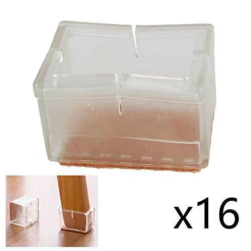coolhome transparent Silikon Stuhlbeinkappen Filz Pads Furniture Pad Stuhl Bein Bodenschoner (16 Stück,4.7cmx 3.2cm) - 7 16 Filz-pads