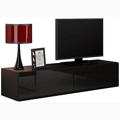 JUSTyou Vago Meuble TV 140 cm Couleur: Noir Mat/Noir laqué Haute Brillance