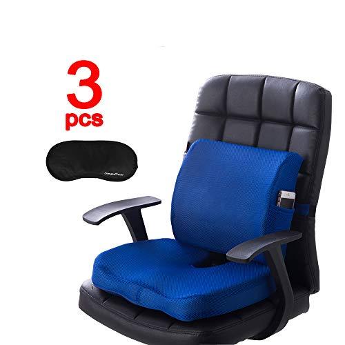 Compuclever cuscini di seduta in schiuma di memoria e supporto lombare forniscono sollievo per il dolore lombare cuscino ortopedico per seggiolino per ufficio seggiolino auto blu