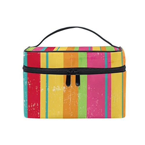 ALAZA Sac cosmétique Stripes coloré Maquillage Vintage Voyage cas de stockage Organisateur