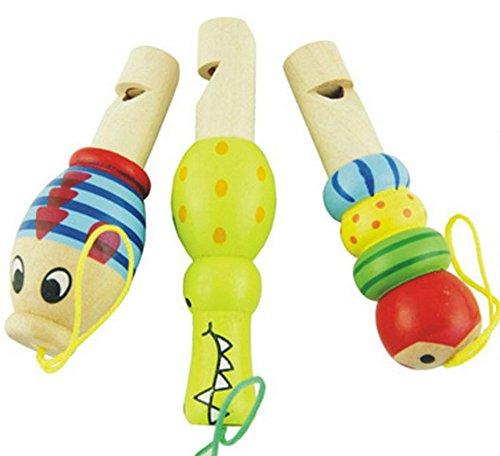 Demarkt Flöte aus Holz für Kinder Hölzerne Flöte Orff frühen Kindheit Lehrmittel 3 PCS [Stil Zufällig] - Kinder-flöte Holz