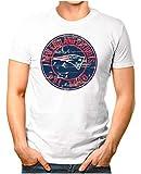 OM3® - New-England-Badge - T-Shirt | Herren | American Football Shirt | XL, Weiß