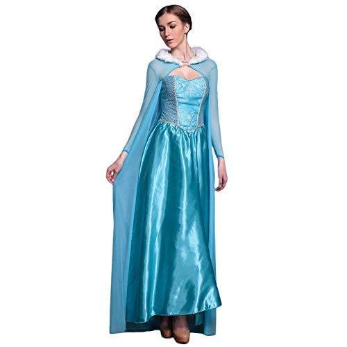 LSERVER Femme Robe Deguisement de Princesse Halloween Fête Cosplay Vetement Carnaval Costume La Reine Taille Unique (Poitrine: 88cm, Ceinture: 74cm)