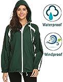 zhenwei Regenjacke Damen Wasserdicht Leichter Regenmantel Damen Jacke Kapuzenjacke Wasserfeste Outdoor Jacke für Frauen (Large, 3-Grün)