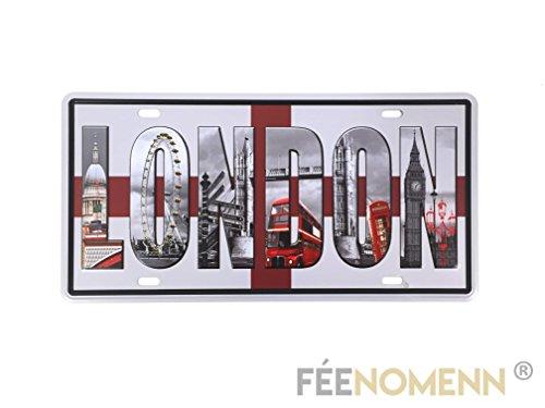 Placa Metal matrícula Vintage-Londres/London