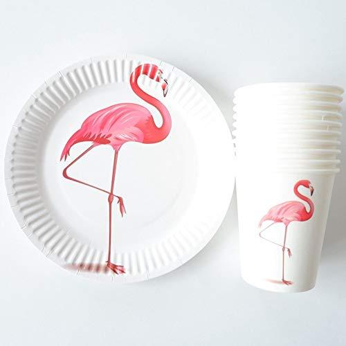 ot Gestreiften Einweggeschirr Party Pappteller Baby Shower Birthday Party Supplies Pappbecher Geschirr, Flamingos ()
