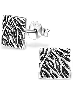 Ohrringe Sterling Silber 925/000rhodiniert–quadratisch, gerillt