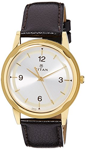 41TPJED3UuL - Titan 1638YL01 Karishma Silver Mens watch