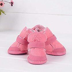CLIN Dog Boots Paw Protector Klassische Pet Schuhe für Hunde Katzen Winter Kleine Dog Anti-Rutsch-Stiefel Yorkshire Schneeschuhe Chihuahua Supplies Pet Products-Pink XS