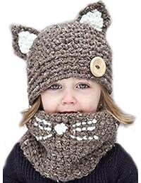 Freesiom Bonnet Echarpe Set Hiver Cagoule Renard Unisexe Bebe Enfant Garcon  Fille Mignon Kawaii Chaud Tricote f5545d237f4