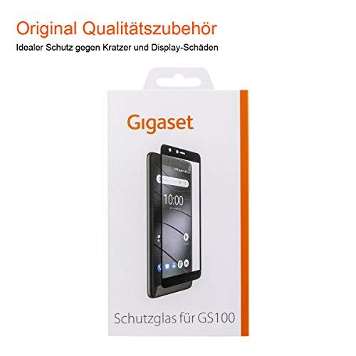 Gigaset Schutzglas (Full Bildschirm HD Glass Protector, Panzer-Schutzfolie gegen Glasbruch & Kratzer, extra stoßfest, geeignet für GS100) schwarze Umrandung