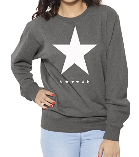 Clifton Womens Printed Cotton Sweat Shirt R-Neck-White Star-Charcoal Melange